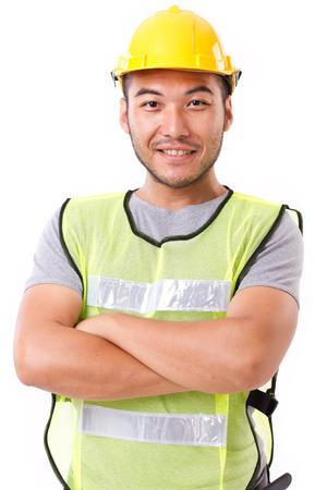 Photo pour confident, strong construction worker on white background - image libre de droit