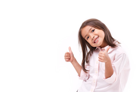 Photo pour kid giving two thumbs up - image libre de droit