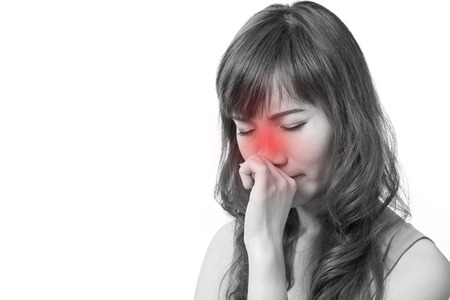 Foto de woman with cold or flu, running nose, white isolated background - Imagen libre de derechos