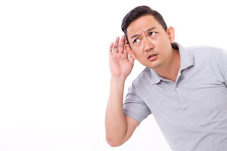 Foto de curious man listening - Imagen libre de derechos
