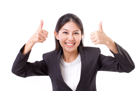 Photo pour Happy, smiling, successful business woman showing thumb up gesture - image libre de droit