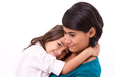 Photo for little daughter hugging her mother, concept of happy family or love - Royalty Free Image