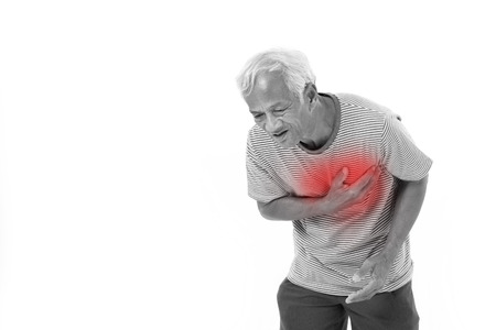 Photo for sick old man suffering from heart attack or breathing difficulties with red alert accent - Royalty Free Image