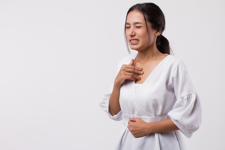 Photo for sick stressed woman with acid reflux, gerd symptoms - Royalty Free Image