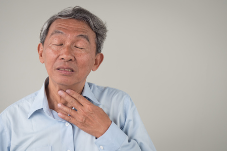 Photo for sick old man with sore throat, laryngitis, reflux - Royalty Free Image