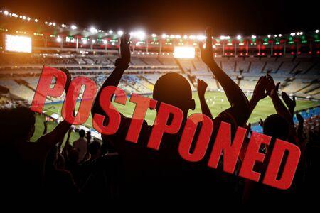 Photo pour Postponement of a football match concept. Ban on mass events. - image libre de droit