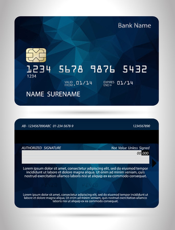 Illustration pour Template credit card with polygon background, vector isolated - image libre de droit