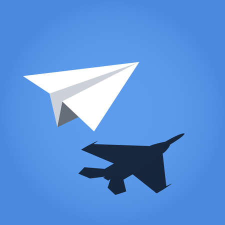 Illustration for paper plane casting shadow jet fighter - Royalty Free Image