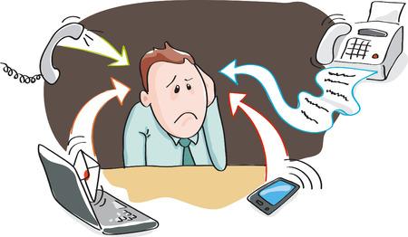 Illustration pour Office worker, businessman - burnout by information overload by electronic devices - smartphone, telephone, fax, e-mail. Vector illustration - image libre de droit