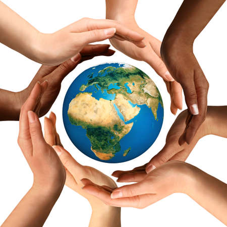 Foto de Conceptual symbol of multiracial human hands surrounding the Earth globe. Unity, world peace, humanity concept. Isolated on white background. - Imagen libre de derechos