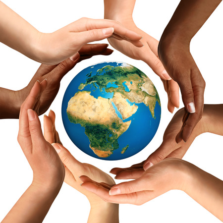 Photo pour Conceptual symbol of multiracial human hands surrounding the Earth globe. Unity, world peace, humanity concept. Isolated on white background. - image libre de droit