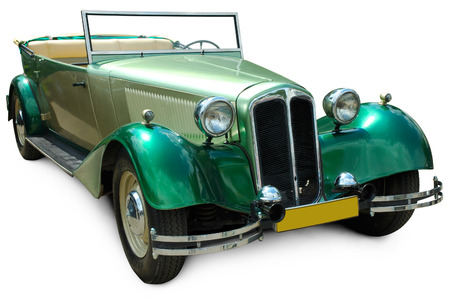 Foto de Classic green convertible vintage car isolated on white background with clipping path - Imagen libre de derechos