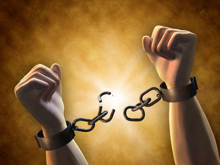 Foto de Recovering freedom: a man breaking a chain. Digital illustration. - Imagen libre de derechos