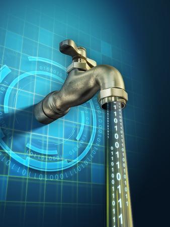 Foto de Sensitive informations are leaking through an open faucet. Digital illustration. - Imagen libre de derechos