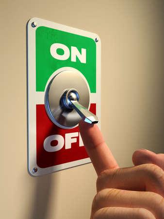 Photo pour Finger pressing on an old style metal switch. Digital illustration. - image libre de droit