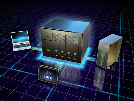 Foto de Various devices connected to a network attached storage. Digital illustration. - Imagen libre de derechos