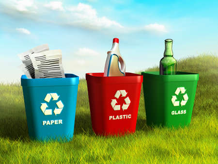 Photo for Colored trash bins used to recycle paper, plastic and glass. Digital illustration. - Royalty Free Image