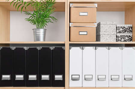 Photo pour Shelves with storage boxes, black and white folders, and green plant. - image libre de droit