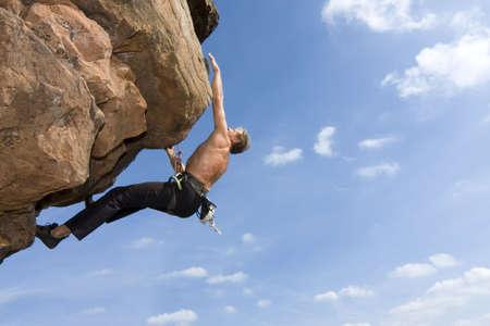 Rock climber Norbert Frank climbing at the Windstein - Vosges - France.