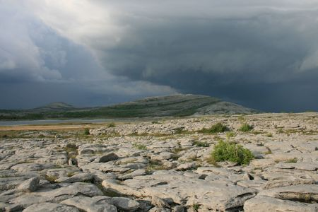 Thunderstorm building over Mullaghmore mountain in the Burren county Clare Ireland