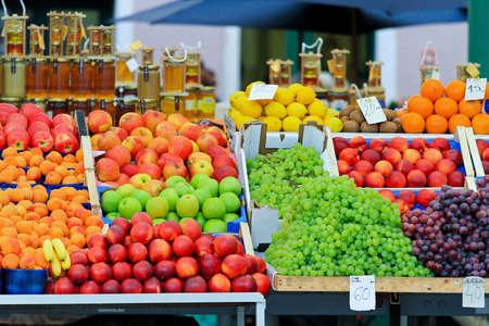 Fresh and organic fruits at farmers market