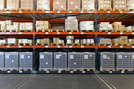 Photo for Mobile shelving system with goods in warehouse - Royalty Free Image