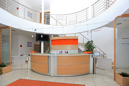 Photo for Modern company entrance with front desk reception - Royalty Free Image