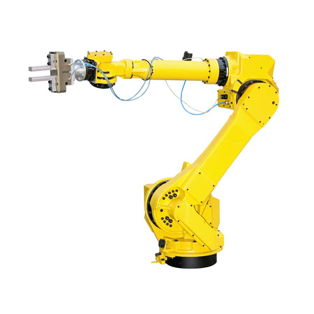 Photo for Yellow robot arm for industry isolated - Royalty Free Image