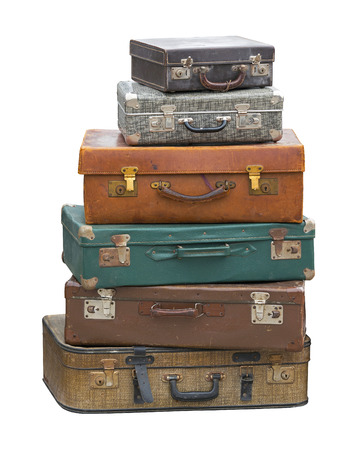Photo pour Stack of vintage luggage suitcase isolated included clipping path - image libre de droit