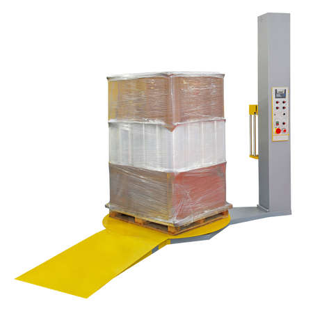 Photo for Stretch wrapping for pallet protection during transport isolated - Royalty Free Image