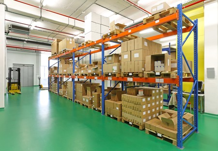 Photo for Shelf with goods in storage warehouse room - Royalty Free Image