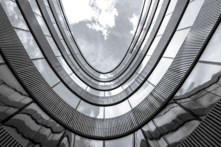 Foto de Low angle view of modern office building. Black and white picture - Imagen libre de derechos
