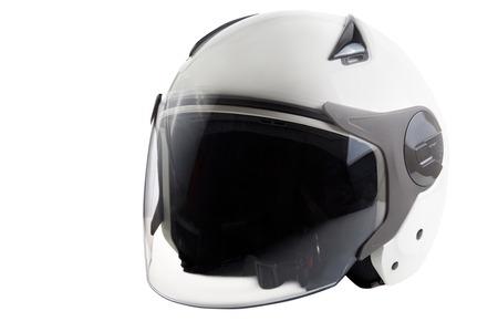 Foto de Glossy white scooter helmet isolated on background - Imagen libre de derechos