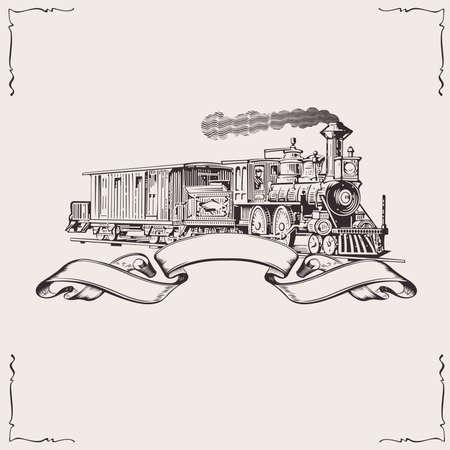Vintage Locomotive Banner. Vector illustration.