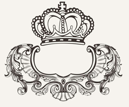 Illustration for One Color Crown Crest Composition - Royalty Free Image