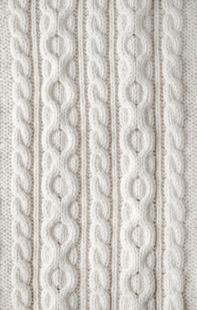 Photo for Knit texture of white wool knitted fabric with cable pattern as background - Royalty Free Image