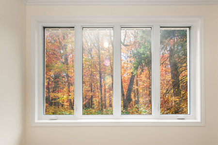 Foto de Large four pane window looking on colorful fall forest - Imagen libre de derechos