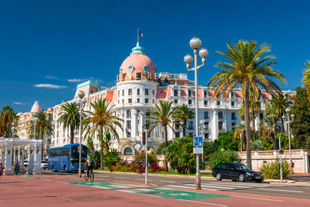 Photo for NICE, FRANCE - OCTOBER 2, 2014: Hotel Negresco on the English promenade (Promenade des Anglais) is one of the famous landmarks of the city. - Royalty Free Image