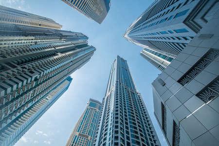 Photo pour Tall Dubai Marina skyscrapers in UAE - image libre de droit