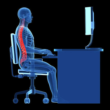 Foto für 3d rendered medical illustration - correct sitting posture - Lizenzfreies Bild