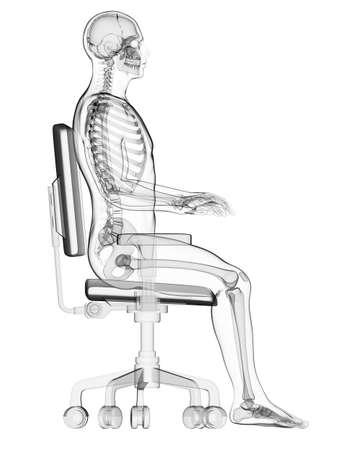 Photo pour 3d rendered medical illustration - correct sitting posture - image libre de droit