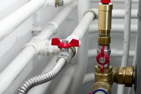 Foto de Pipes of a heating system - Imagen libre de derechos