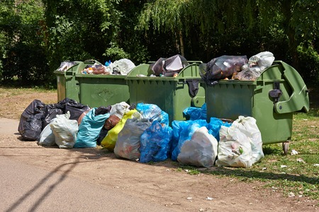 Photo for Dumpsters being full with garbage - Royalty Free Image