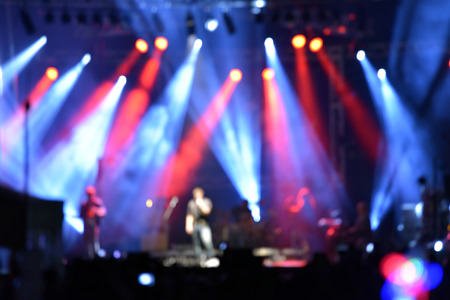 Photo pour Outdoor rock concert with light background illumination - image libre de droit