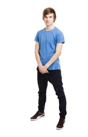 Photo pour Portrait of a handsome young man standing over a white background - image libre de droit