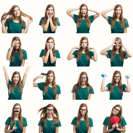 Multiple collage of a beautiful young woman with different expressions and doing different things