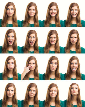 Photo pour Multiple collage of a beautiful young woman with different expressions - image libre de droit