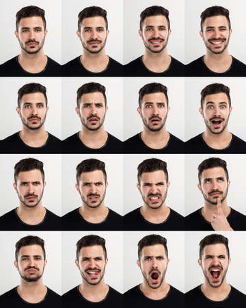 Foto de Composite of multiple portraits of the same man in different expressions - Imagen libre de derechos