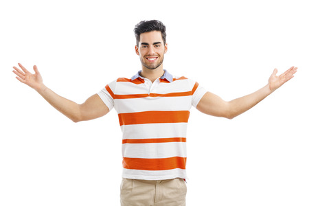 Photo pour Successful young man with arms wide open, isolated over white background - image libre de droit