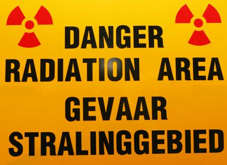 Warning sign in radiation area warning patients